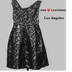 One Clothing Black metallic Fit-and-Flare Dress